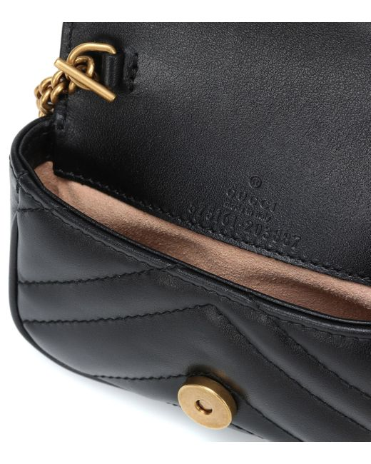 Gucci Black GG Marmont Micro Leather Shoulder Bag