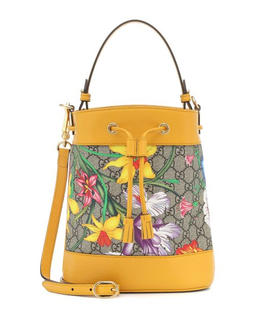 Gucci Yellow Ophidia GG Flora Small Bucket Bag