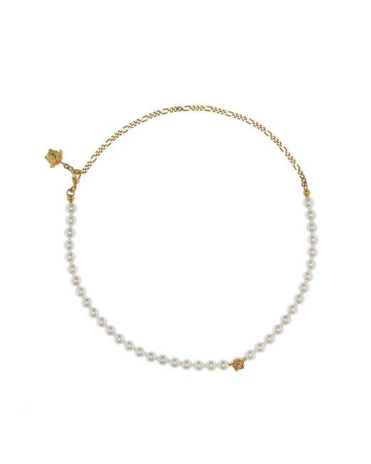 Versace - White Medusa Faux Pearl Necklace - Lyst
