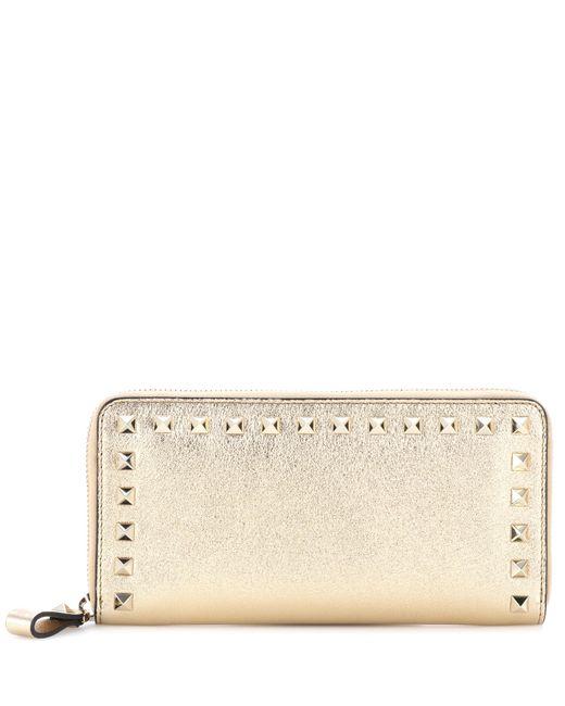Valentino - Metallic Rockstud Leather Wallet - Lyst