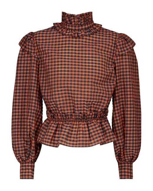 Ganni Brown Checked Cotton-blend Top