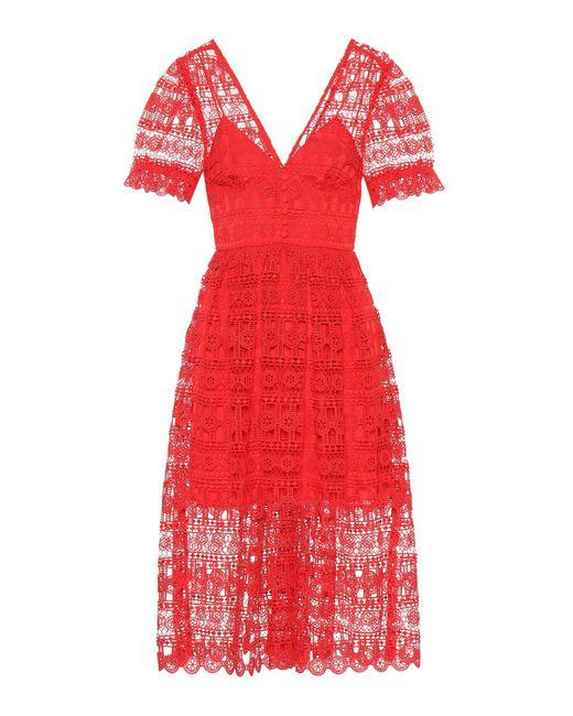 f833e96cf7f5a Self-Portrait Lace Dress in Red - Save 31% - Lyst