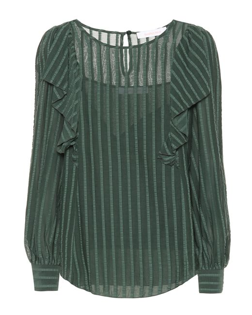 See By Chloé Green Striped Cotton-blend Ruffle Top
