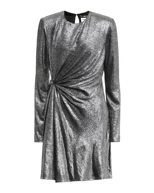 Robe courte en soie mélangée à fils métallisés Saint Laurent en coloris Metallic