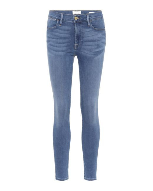 FRAME - Blue High-Rise Skinny Jeans - Lyst