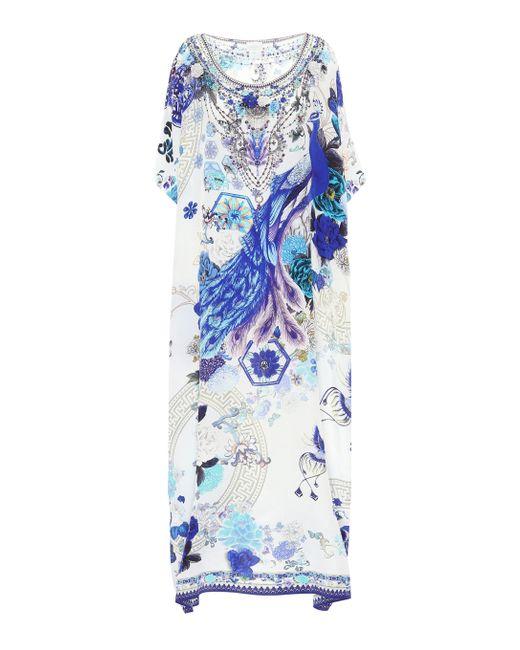 Camilla Blue Printed Silk Kaftan