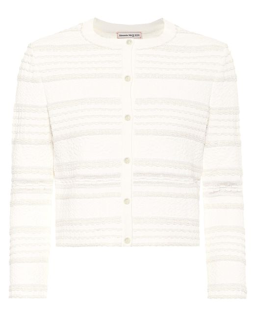 Alexander McQueen White Cropped Cardigan