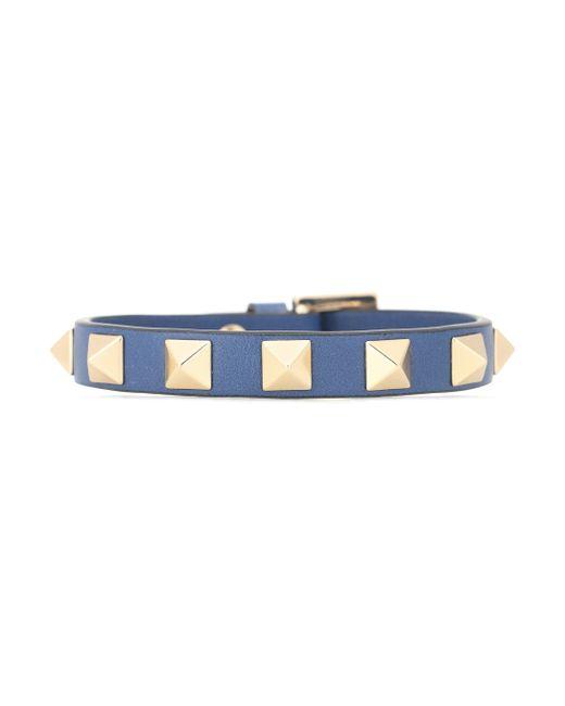 Valentino Blue Rockstud Leather Bracelet