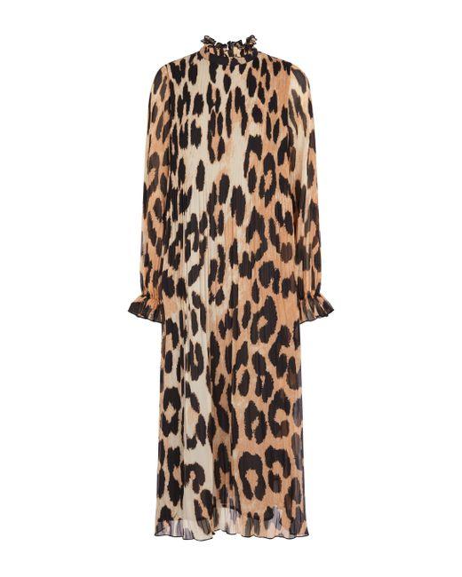 Robe midi à motif léopard Ganni en coloris Brown