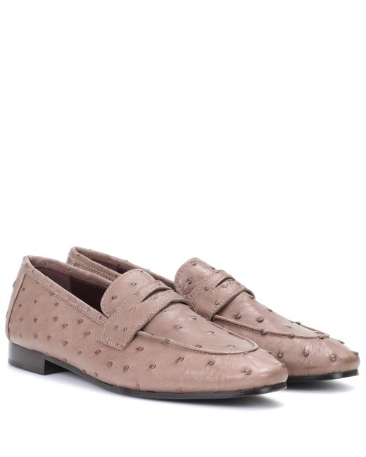 Lyst Bougeotte Ostrich Leather Loafers In Brown