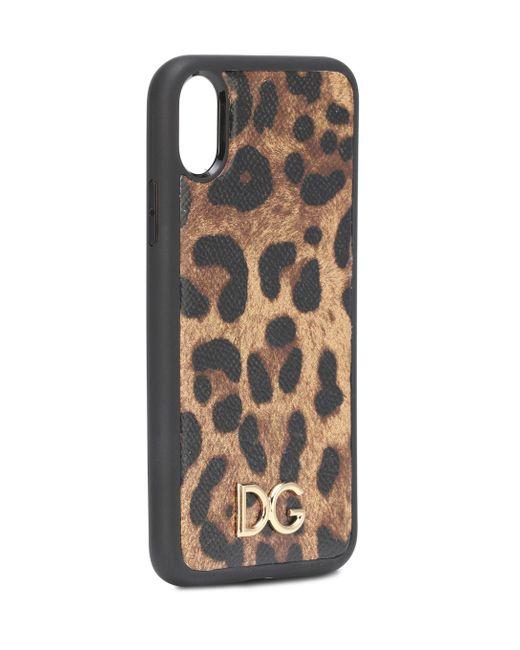 Funda Iphone Xr De Becerro Dauphine Con Estampado Leopardo Dolce & Gabbana de color Multicolor