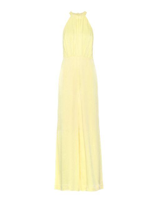 ROTATE BIRGER CHRISTENSEN Yellow Neckholder Jumpsuit aus Satin