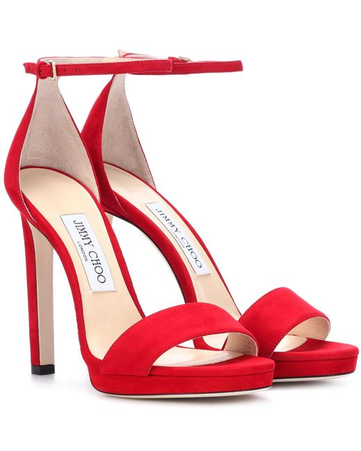 Jimmy Choo Red Misty 120 Suede Sandals