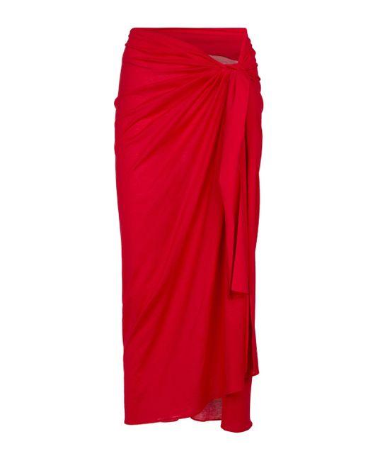 Eres Red Sarong Peplum aus Baumwolle