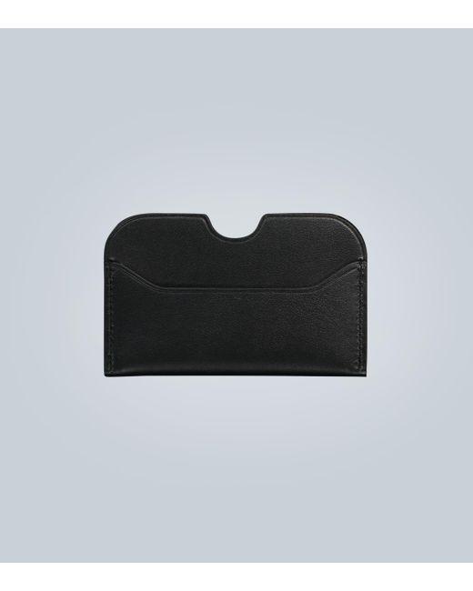 Liberty London Folded Card Holder Navy Embossed Logo All leather  UNISEX
