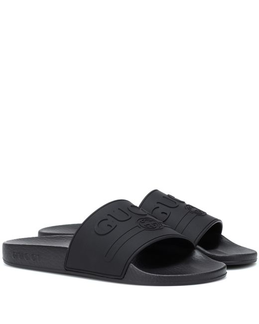 Gucci Black Rubber Slippers Sandals Logo