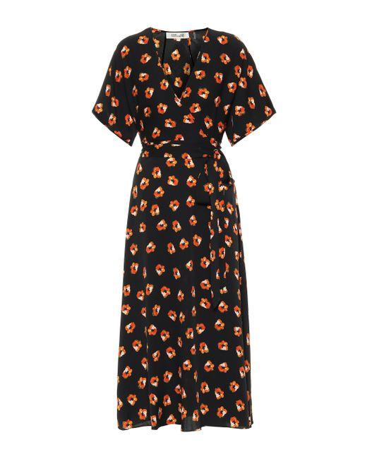 Robe portefeuille Kelsey imprimée en crêpe de soie Diane von Furstenberg en coloris Black