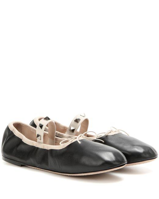 Valentino - Black Rockstud Leather Ballet Flats - Lyst