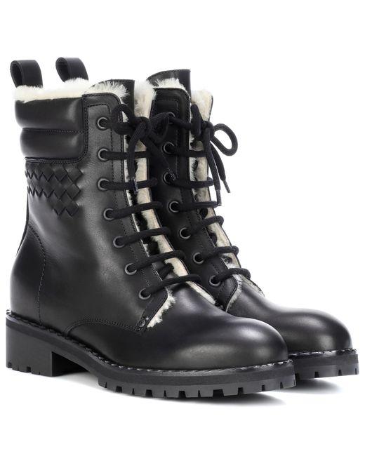 Bottega Veneta - Black Shearling-lined Leather Ankle Boots - Lyst