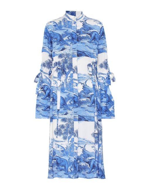 Ellery Blue Zenith Printed Stretch-silk Dress