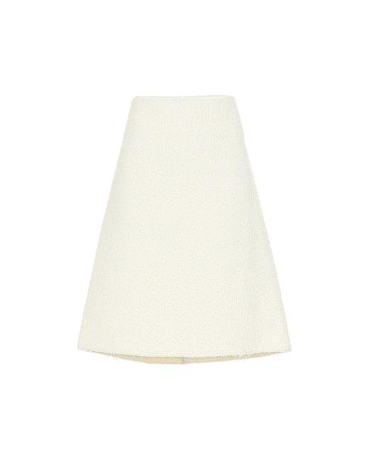 Bottega Veneta White Wool-blend Bouclé Skirt