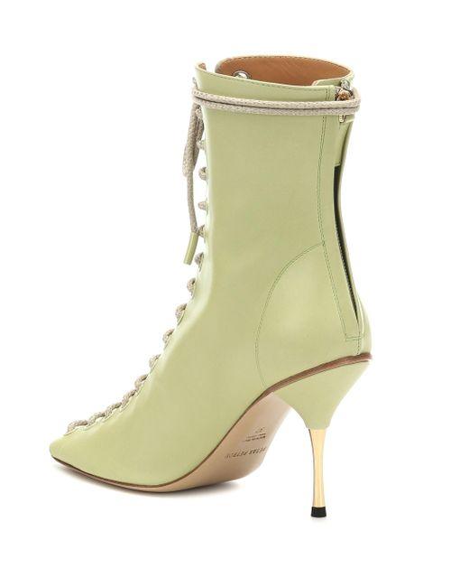 Petar Petrov Green Ankle Boots Siena aus Leder