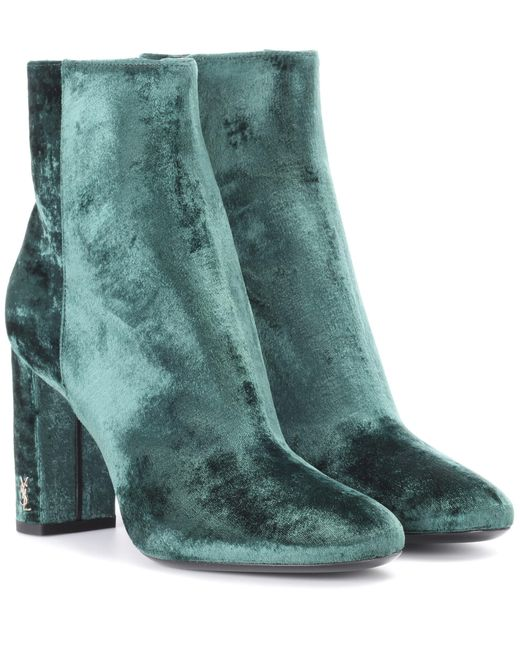 Saint Laurent - Green Loulou 95 Velvet Ankle Boots - Lyst