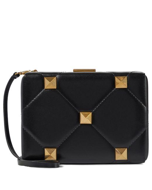 Valentino Garavani Black Roman Stud Small Leather Clutch