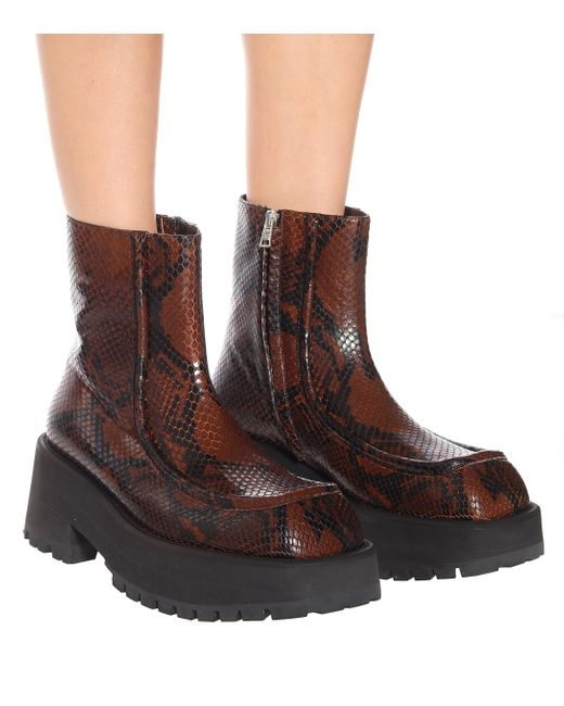 Marni Brown Square-toe Python-print Leather Ankle Boots