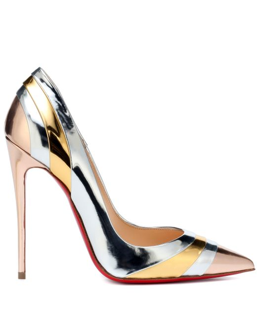 lowest price 72c05 bd0ce Christian Louboutin Eklectica 120 Metallic Leather Pumps - Lyst