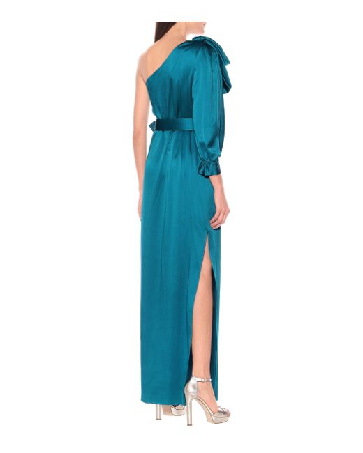 Robe longue asymétrique en satin Peter Pilotto en coloris Blue