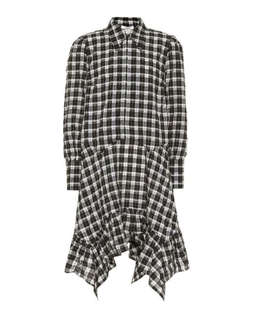 Ganni Cotton Seersucker Check Dress In Black Save 52 Lyst