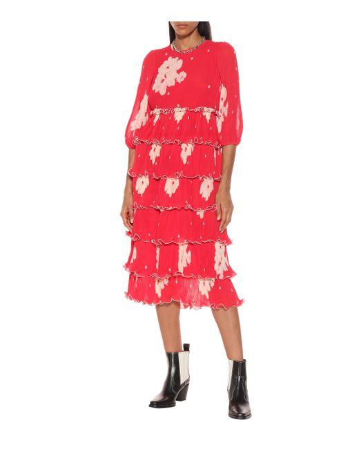 Ganni Red Floral Pleat Georgette Midi Dress