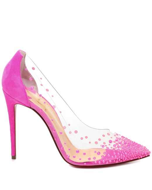 Christian Louboutin Pink Degrastrass 100 Suede And Pvc Pumps