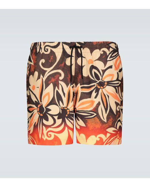 Dries Van Noten Bedruckte Badeshorts in Orange für Herren