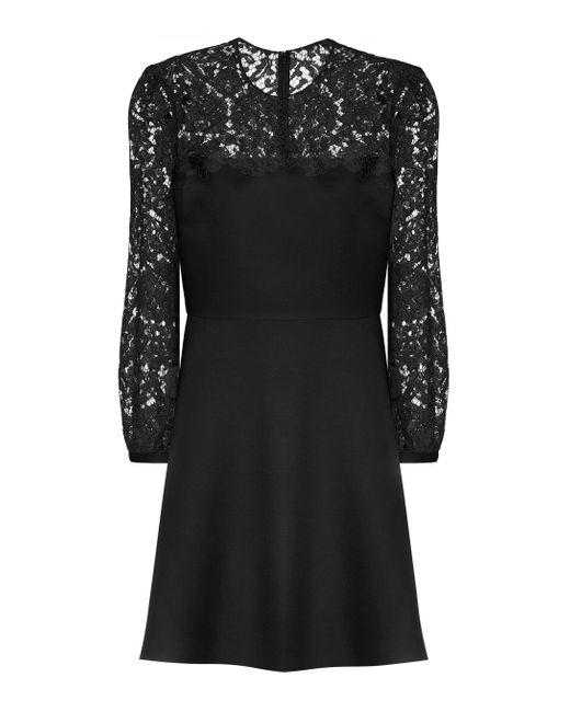 Valentino Black Minikleid aus Wolle und Seide