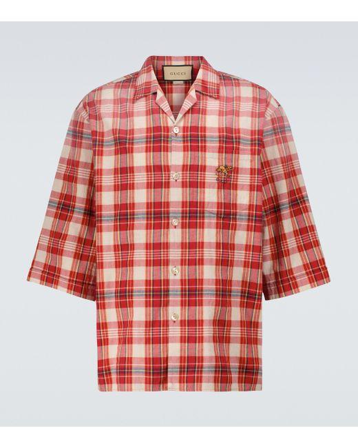 Chemise Ouverture en coton Gucci pour homme en coloris Red