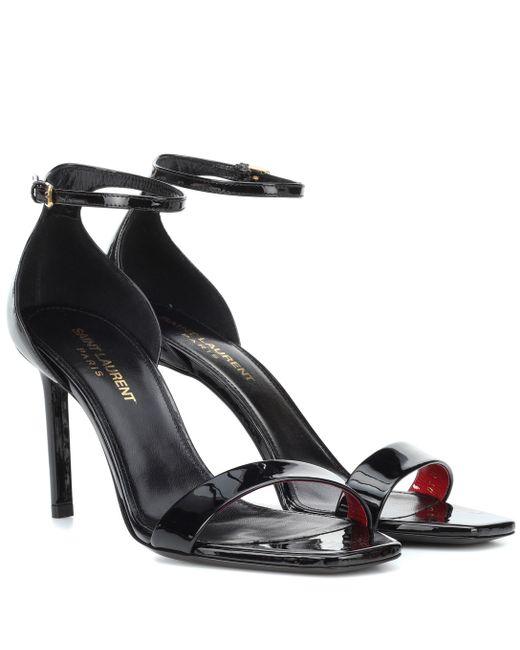 Saint Laurent - Black Amber 85 Patent Leather Sandals - Lyst