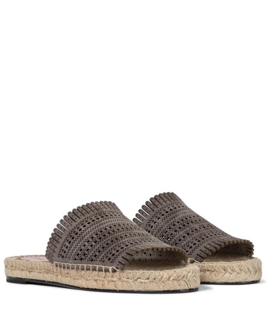 Alaïa Brown Laser-cut Leather Espadrille Sandals