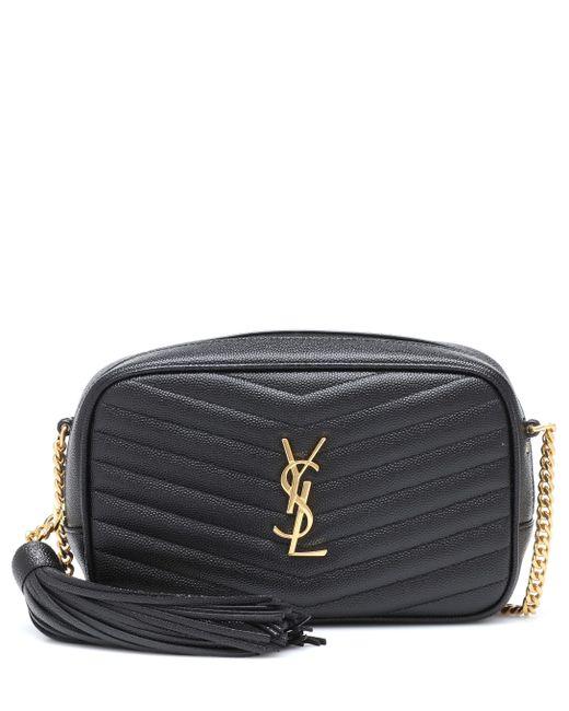 Saint Laurent Black Lou Mini Leather Crossbody Bag