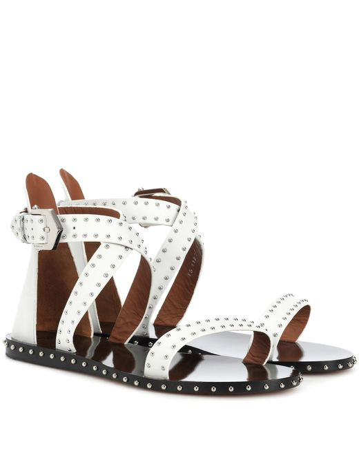 Givenchy White Studded Leather Sandals