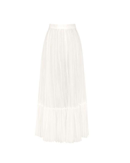 Valentino White Pleated Cotton Skirt