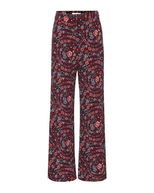 See By Chloé Red Floral Wide-leg Pants