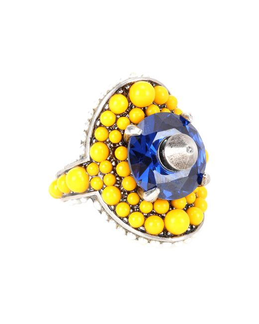 Gucci - Yellow Crystal And Bead-embellished Ring - Lyst