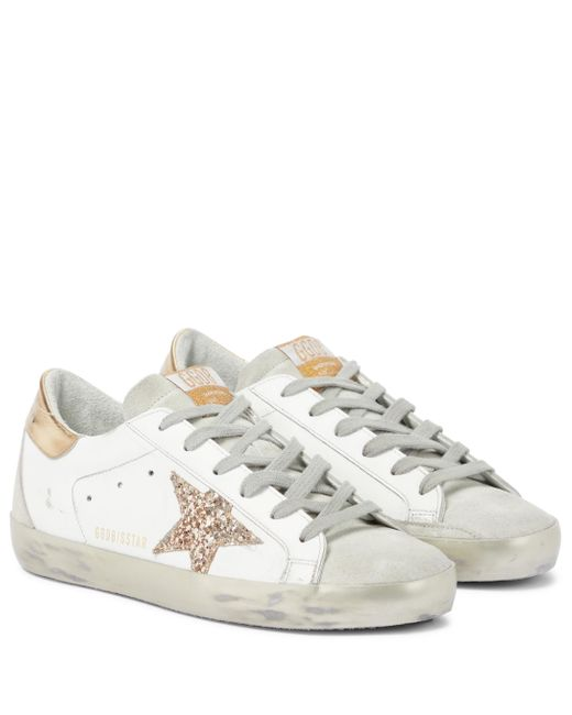 Golden Goose Deluxe Brand White Superstar Leather And Suede Sneakers