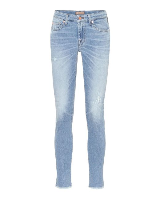 7 For All Mankind Blue Pyper Cropped Mid-rise Skinny Pants