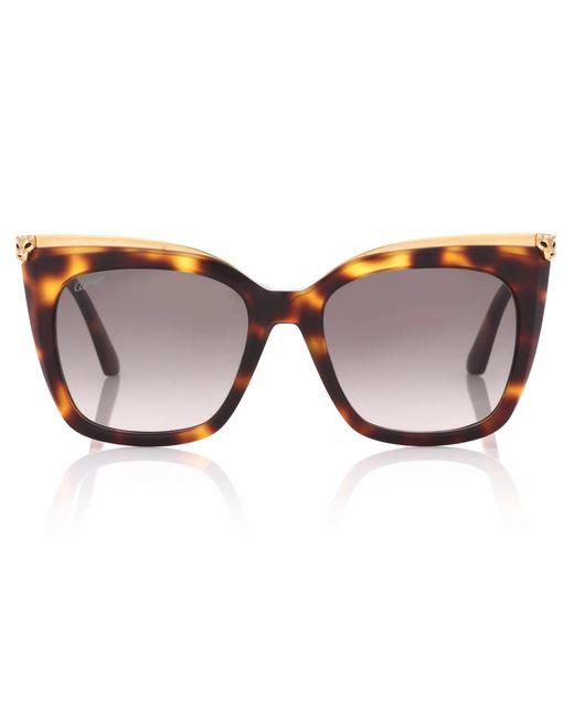 Cartier - Brown Panthère De Cartier Square Sunglasses - Lyst