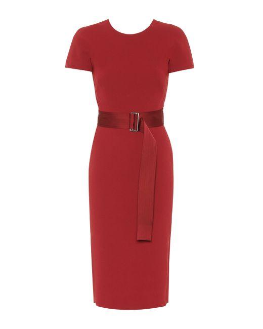 Victoria Beckham Red Crêpe Midi Dress