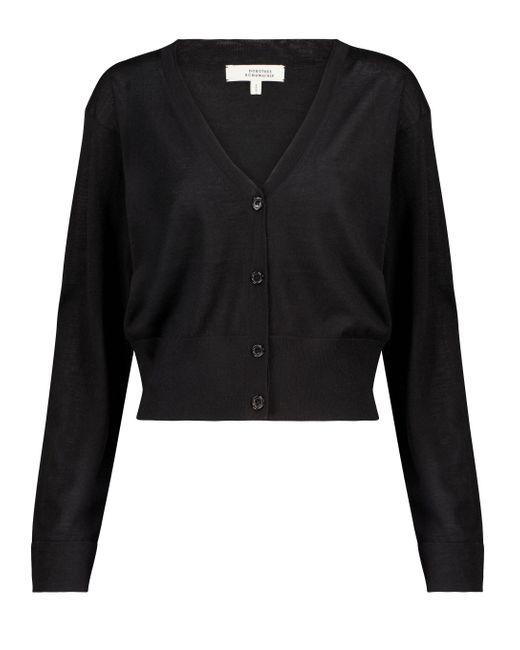 Cardigan Open Mind in lana e seta di Dorothee Schumacher in Black
