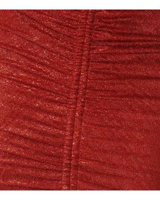 Abito lungo Sahara in jersey lamé di Galvan in Red